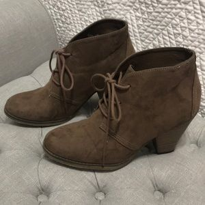 Faux Suede Taupe Heeled Booties